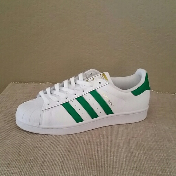 newest 94a53 006f3 Nwot Adidas superstar green stripe sneakers 8.5
